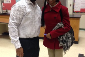 Geo with student leader at Maxwell H.S.