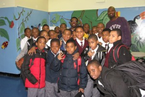 Geo after speaking with the Young Men of Character Mentoring Group